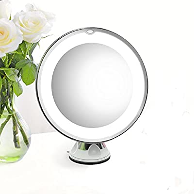"""7X Magnifying Makeup Mirror - Olaxer EB601 Adjustable 7X Magnifying Lighted Makeup Mirror with Power Locking Suction Cup, Natural LED Light Bathroom Vanity Mirror ( Diameter 7"""")"""