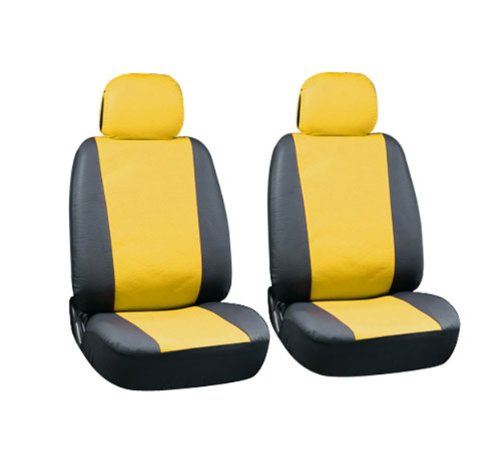 PU Faux Leather Seat Covers Full 6 Piece Set Yellow and Black for Car Truck SUV Van