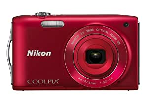 Nikon COOLPIX S3300 16 MP Digital Camera with 6x Zoom NIKKOR Glass Lens and 2.7-inch LCD (Red)