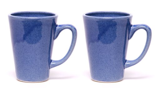 Emerson Creek Stoneware 16 Oz Latte Mug, Set Of 2, Dinnerware Made In The Usa (American Blue)
