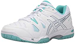 ASICS Women\'s GEL-Game 5 Tennis Shoe, White/Blue Mirage/Pool Blue, 8.5 M US