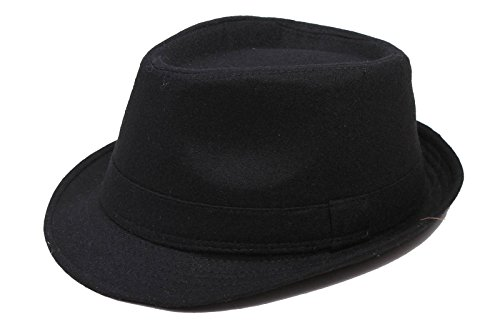 Men's Manhattan Fedora Hat Printed Letter Cap, Black Color