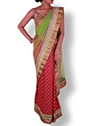 Green Pink Half And Half Net Georgette Saree With Pita And Stone Work Border