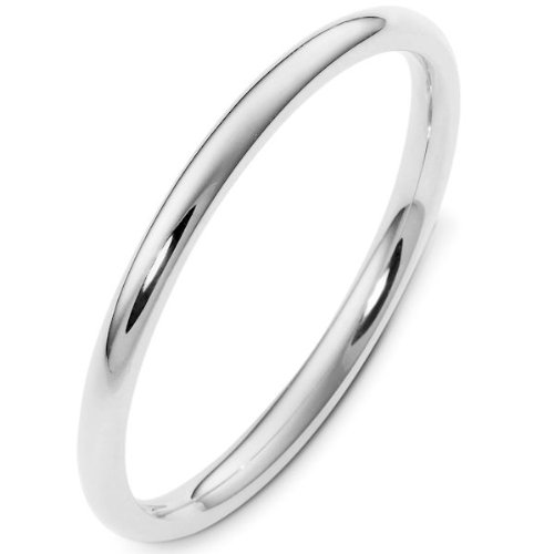 14K White Gold, Comfort Fit Wedding Band 2MM (sz 12)