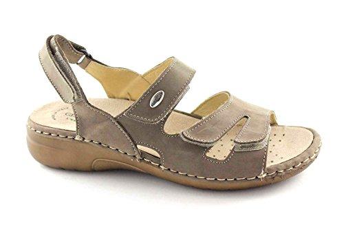 GRUNLAND LABA SE0055 taupe sandali donna strappi comfort pelle 39