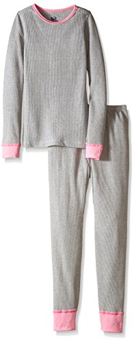 Fruit of the Loom Big Girls' Soft Waffle Thermal Underwear Set, Intradeco Light Grey Heather, 7/8 (Footed Thermal Underwear compare prices)