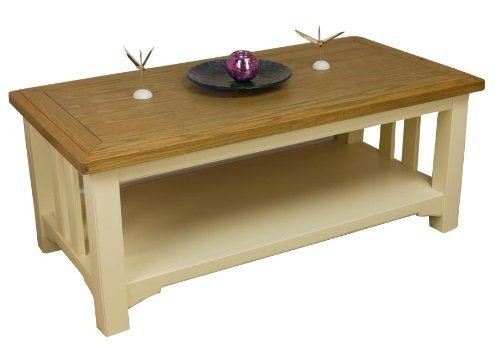 Attirant PAINTED   OAK COFFEE TABLE WITH SHELF IN CREAM WHITE / SIDE LAMP TABLE  *SOLID