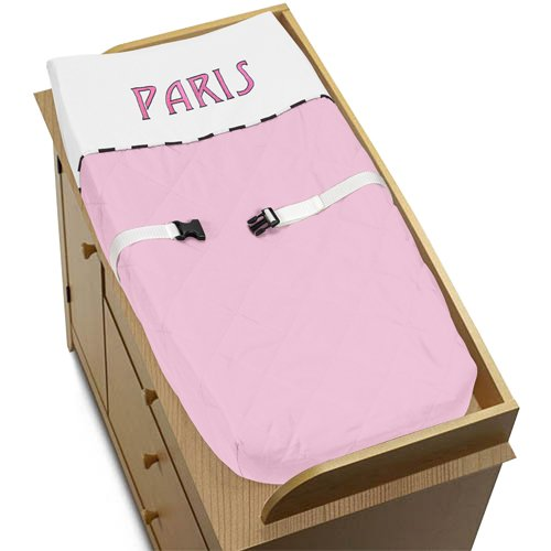 Pink, Black And White Paris Baby Changing Pad Cover By Sweet Jojo Designs front-981358