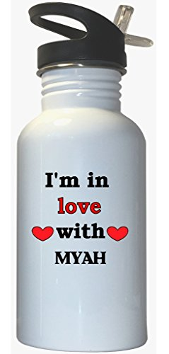 In Love With Myah White Stainless Steel Water Bottle Straw Top