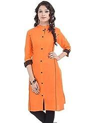 Ncon Group Women's Cotton Straight Kurti(NG-OD-ORANGE-S_Orange_Small)