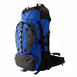 60+10l Internal Frame Camping Hiking Backpack Blue