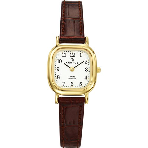 Certus 646523 - Ladies Watch - Analogue Quartz - White Dial - Brown Leather Bracelet