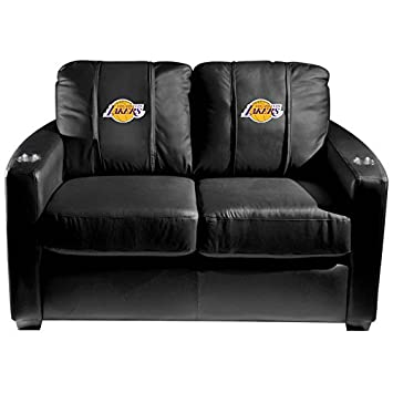 XZipit NBA Silver Loveseat with Los Angeles Lakers Logo Panel - Black