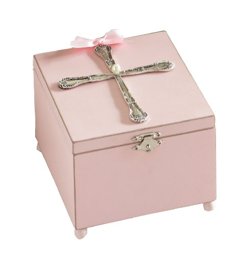 Classic Keepsakes Spoon Cross Jewelry Box, Blush front-671208