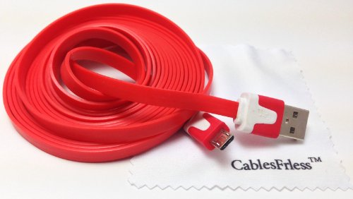 Red 10Ft ( 10 Feet 10' ) Tangle Free Noodle Style Micro B Usb Charging / Data Sync Cable Fits Android Samsung Galaxy Htc Lg Pantech Blackberry Motorola Sony Zte