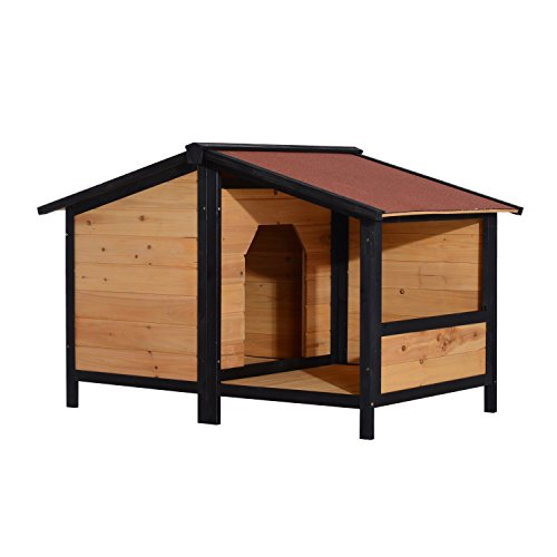 pawhut elevated dog house with opening roof doggie house With pawhut dog house