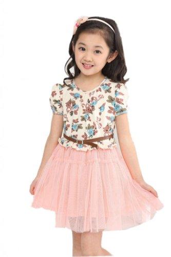 2014 Spring New Korean Floral Kids Girls Baby Princess Dress Veil,Pink9 Child Us