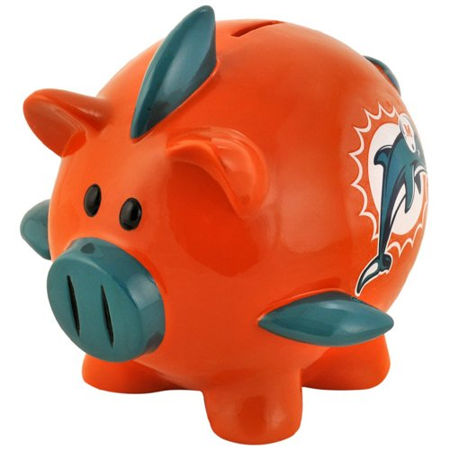 NFL Miami Dolphins Resin Large Thematic Piggy Bank (Tickets To Miami compare prices)