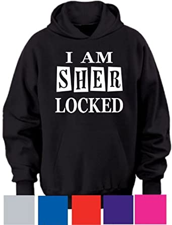 "I AM SHERLOCKED ~ SHERLOCK ~ HOODIE ~ ADULTS S-XXL (UNISEX S (TO FIT CHEST 34/36""), BLACK)"