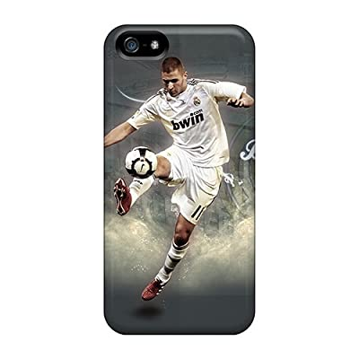 Rugged Skin Case Cover For Iphone 5/5s- Eco-friendly Packaging(the Football Player Real Madrid Karim Benzema Playing With A Ball)