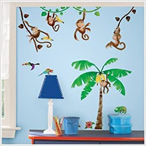 Huge Set 82 Monkey Business Wall Decals Palm Trees Jungle Theme from Roommates