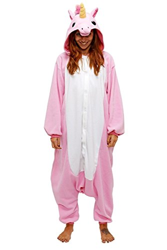 Adulte-Unisexe-Animal-Costume-Cosplay-Combinaison-Pyjama-Outfit-Nuit-Fleece-Halloween-New-Unicorn-Pink