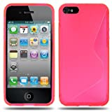 KGC_DOO Screen Protector Film + Cover Case TPU WAVE Snap On Case for iPhone 4 4s 5c - Rubber Rubberized Padding Flexible - Covering Shell Shield Protective TPU Gel Silicon (IPHONE 5 5S, PINK)