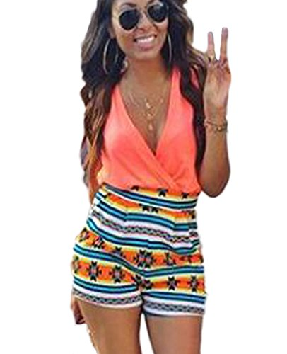 Women's V-Neck Floral Print Sleeveless Jumpsuit Romper