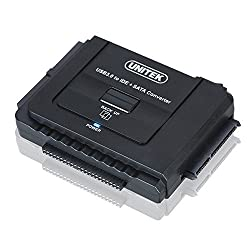 Unitek USB 3.0 to IDE and Sata Converter Hard Drive Adapter Universal 2.5/3.5/5.25 Drives Optical Drive, One Touch Backup Function and Restore Software, with 12v 2a Power Adapter, 4pin Power Cable