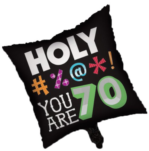Creative Converting Holy Bleep 70th Birthday 2-Sided Square Mylar Balloon