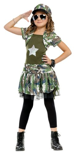 Tween Army Brat Girl'S Costume 4-6 - With Bracelet For Mom front-1006006
