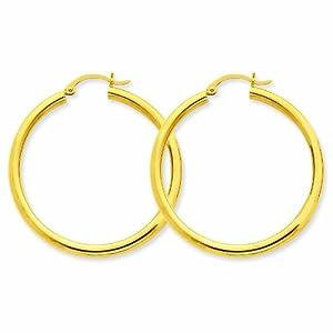 14K Polished 3mm Round Hoop Earrings