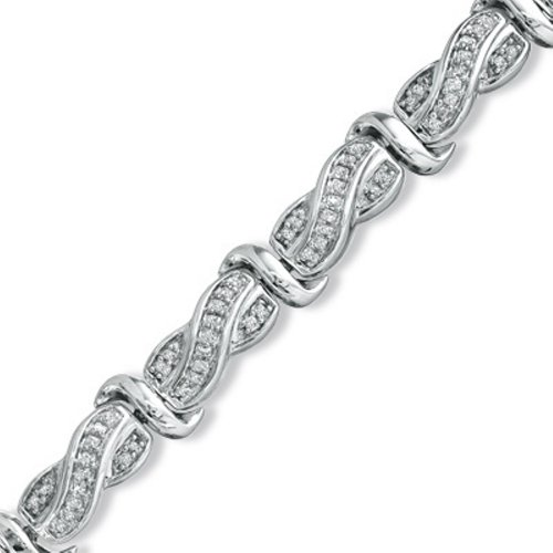 Sterling Silver Princess-cut Diamond Twisted Fashion Bracelet (1cttw)