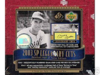 2003 Upper Deck Legendary Cuts Baseball Cards Hobby box