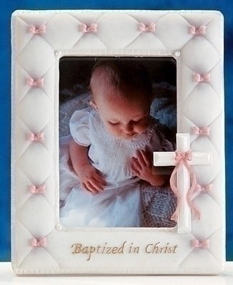 "7"" Baptism Frame for 3.5""x5"" Photo (Girl - Pink)"