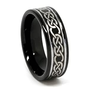 Top Value Jewelry - Men's Black Tungsten Wedding Band, His Black Celtic Ring, Laser-Etched Design, Step High Polish Edge, Men 8MM (size 8-15) - (8.5) - UK Size: Q