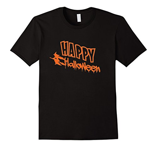 Men's Happy Halloween Witch Riding on Broom Costume T-Shirt Medium Black (Halaween Costume)