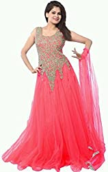 Vadaliya Enterprise Women's Embroidered Net Pink Gown