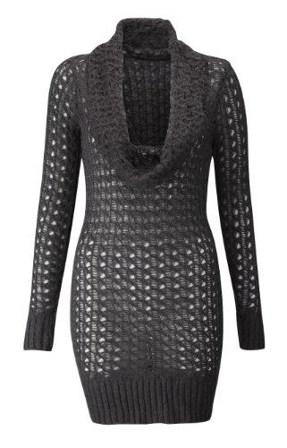 Womens Ladies Cowl Neck Crochet Jumper Dress in Dark Grey