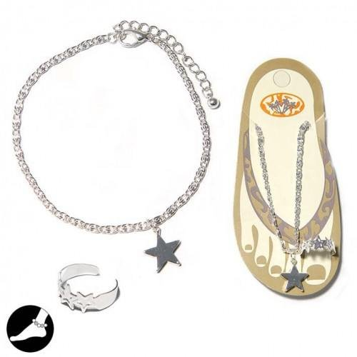 Sg Paris Fashion Jewellery Anklet Chain Set of 2 Woman Metal Rhodium Silver Star