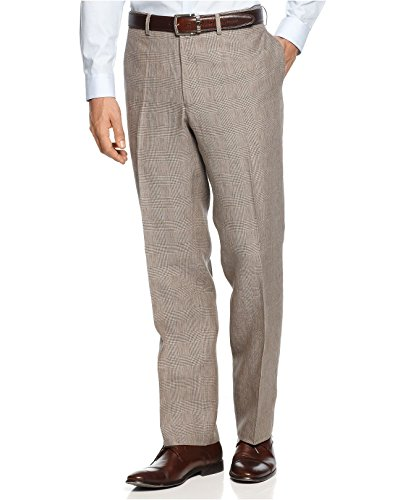 Ralph Lauren Gray Plaid Flat Front 100% Linen New Men's Dress Pants (36W)