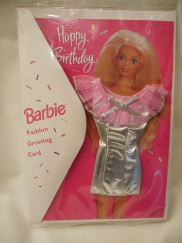 Happy Birthday Barbie Doll Fashion Greeting Card with Real Clothes - Silver Lame Dress (1994) - 1