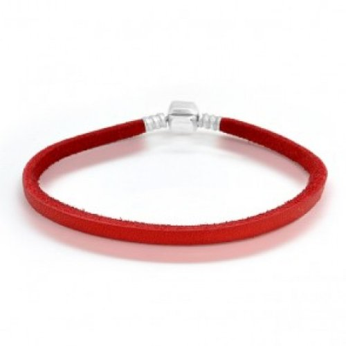 Bling Jewelry Red Leather 925 Sterling Clasp Screw Tip Bracelet Pandora Style
