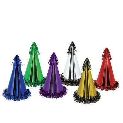 Fringed Foil Party Hats (asstd colors) Party Accessory  (1 count)