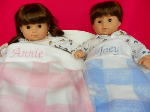 Personalized & Monogrammed Twin Matching Pink & Blue Plaid Blankets for Bitty Baby Twins Amazon.com
