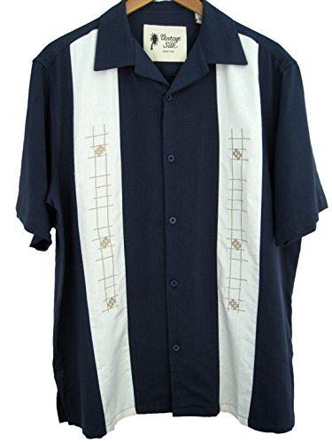 Mens silk retro bowling shirt panel 50s casual embroidery for Mens silk shirts amazon