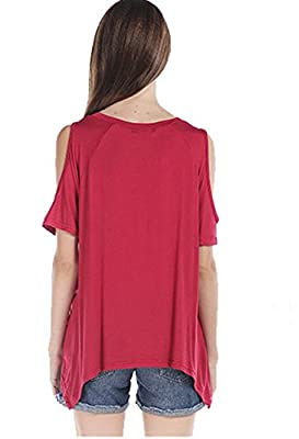 Womens Hollow Out Off Shoulder Tunic Shirt