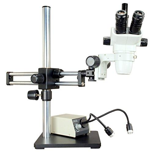 Omax 6.7X-45X Zoom Stereo Microscope+Dual Gooseneck Led Light+Boom Stand