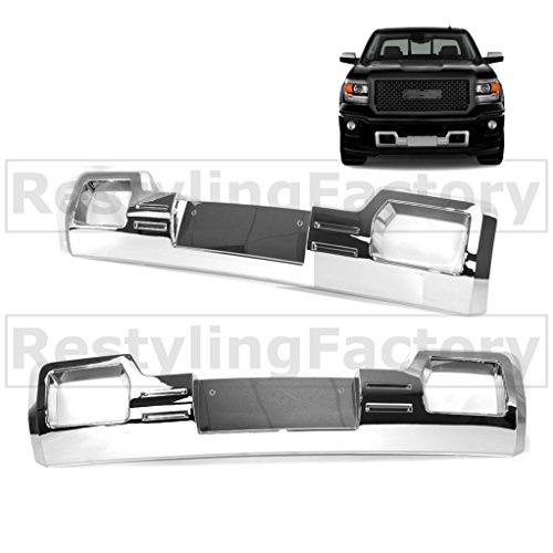 Restyling Factory 2014-2015 GMC Sierra 1500 Denali Style Chrome Front Bumper Skid Plate License Plate Overlay Overlay Cover (Chrome) (1994 Gmc Sierra Grille compare prices)