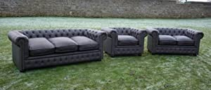 Dark Brown Real Leather Chesterfield 3 Piece Suite! Stunning by Chesterfield